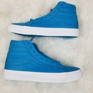 Vans Sk8-hi Slim Neon Blue Leather Shoes